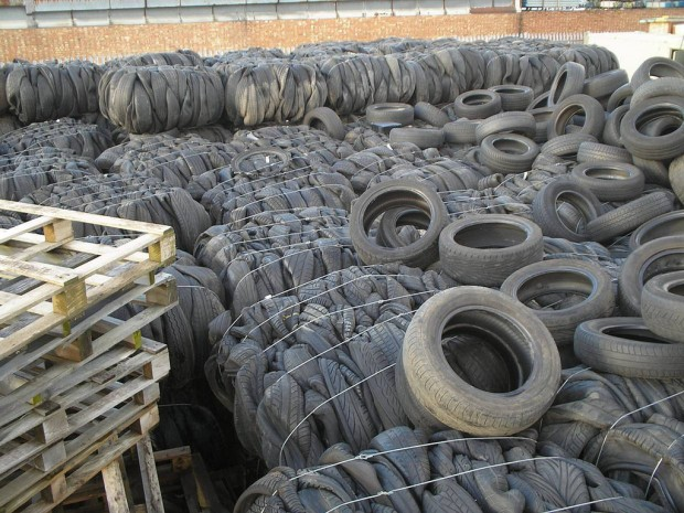 Illegally dumped tyres