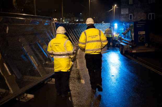 Demountable flood barriers at Beales Corner in Bewdley