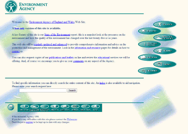 The Environment Agency's website in 1996