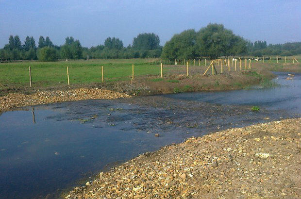 Riffles created after the removal of the sluice at Homersfield, Suffolk