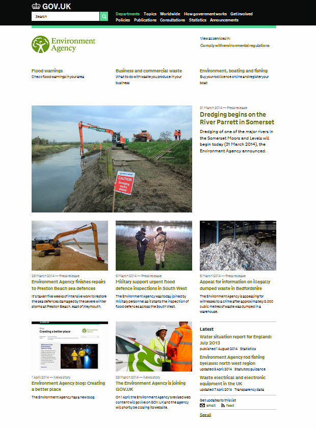 Environment Agency homepage on gov.uk