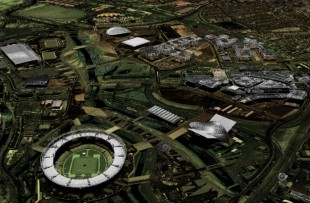Arial view of Olympic Park, London captured by a Cessna