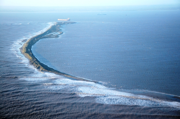 Spurn Head following the tidal surge in December 2013 showing the impact of the surge.