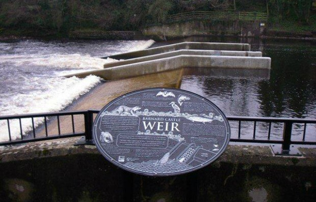 Fish pass on a weir in the River Tees at Barnard Castle