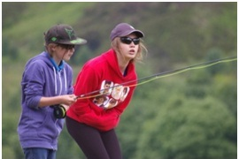 Two female school pupils fishing