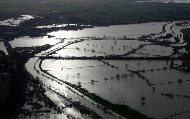 An aerial view of the river Severn at Tewkesbury during a Winter flood