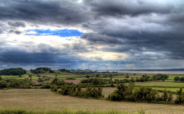 A view across the Severn valley towards the Severn Bridge