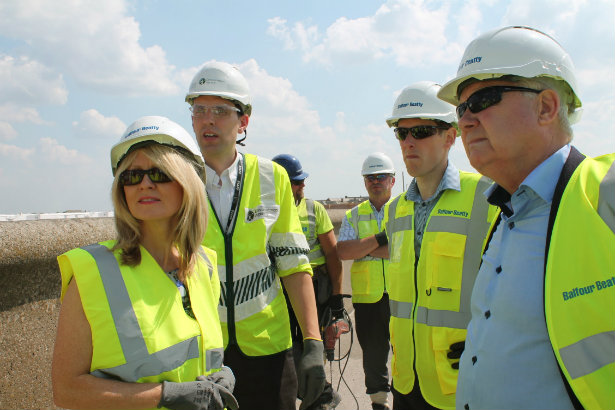 Esther McVey MP with Andy Brown at the Rossall and Anchorsholme Flood and Coastal Risk Management Scheme
