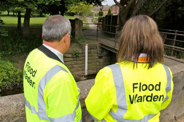 Flood wardens in high-vis jackets