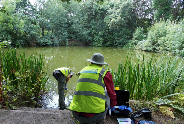Volunteer group Friends of Apley Woods testing water quality in Apley
