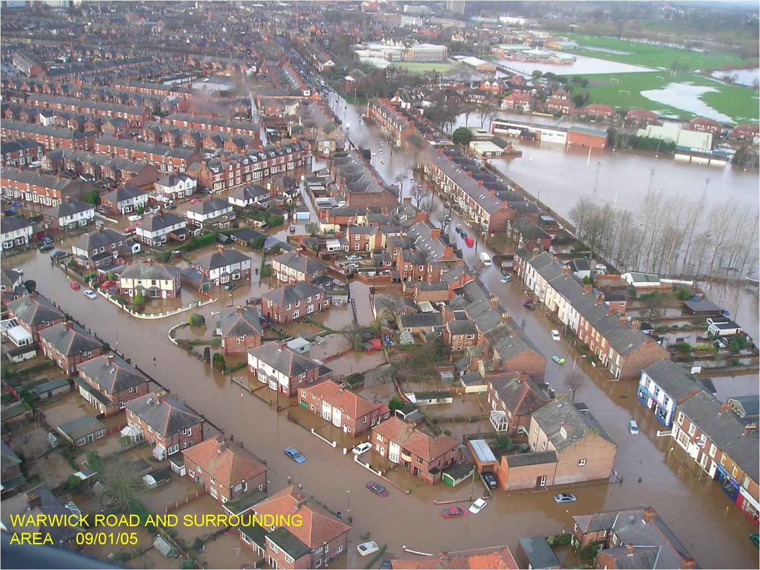 Warwick Road and Surrounding flooded area  in Carlisle 9th January 2005