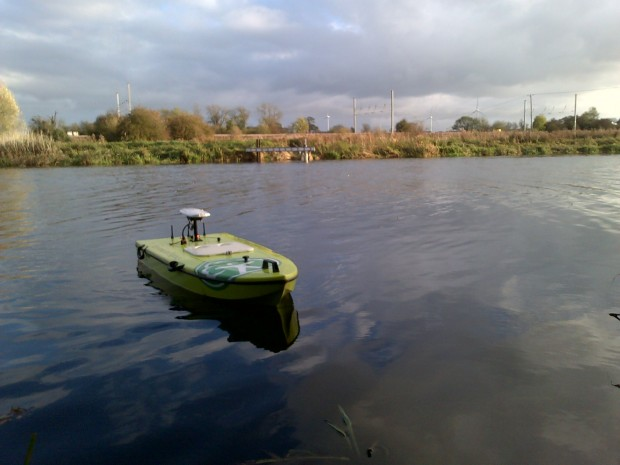 Our remote controlled boat - also used to collect data at one of our largest sites