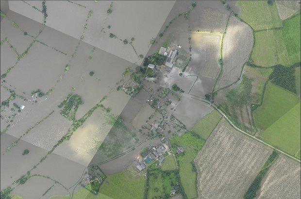 Devastating floods hit Deerhurst, Gloucestershire, in 2007