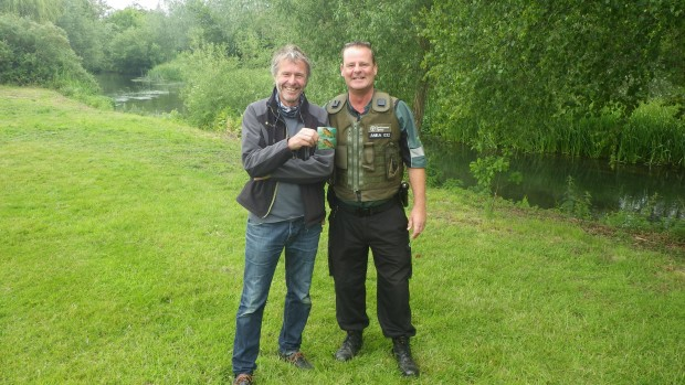 John Bailey (left) with the EA's Fisheries Enforcement Officer in ENS Nick Beardmore
