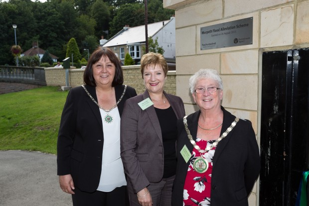 NDT Area Manager (centre) with the Civic Head of Northumberland County Council Kath Nisbet (right) and her aide (left)