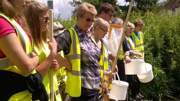 Volunteer river wardens undergoing RiverFly training at Church End, Gt Dunmow on the River Chelmer
