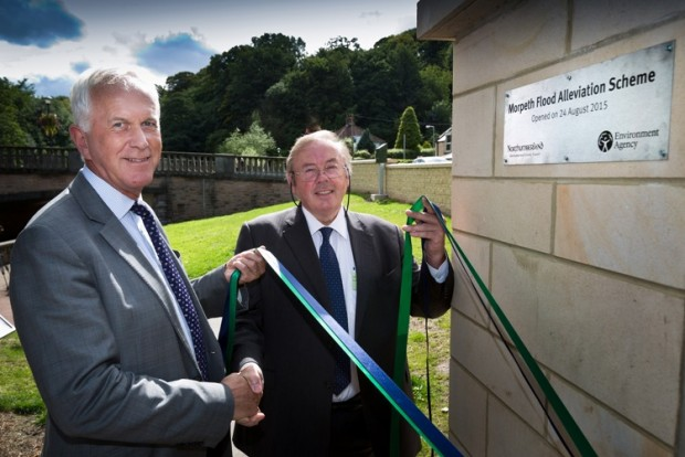 Cllr Ian Swithenbank of Northumberland County Council and Sir Philip Graham Dilley is the chairman of the Environment Agency opening the Morpeth Flood Alleviation Scheme