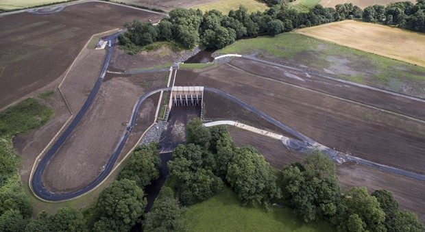 Aerial view of the Morpeth Flood Alleviation Scheme