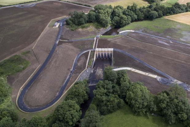 an aerial view of the Morpeth flood scheme