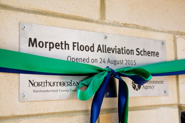 Morpeth Flood Alleviation Scheme plaque on the opening day