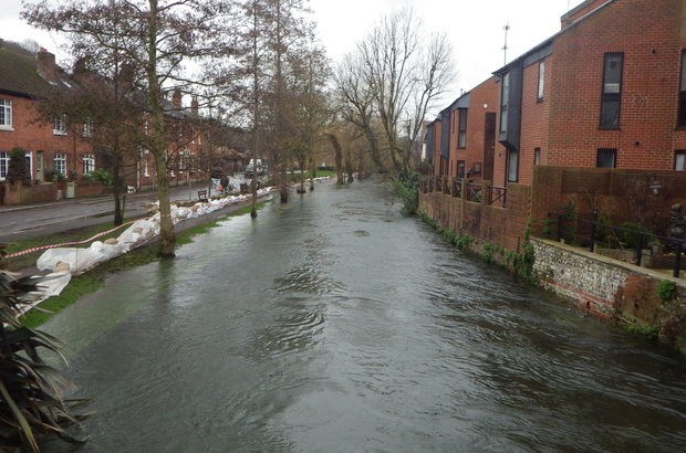 Water Lane in Winchester during the flooding of 2013