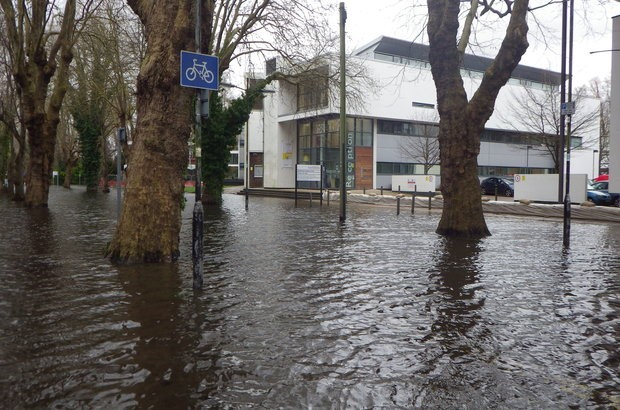 The flooded north walls of the arts college in Winchester