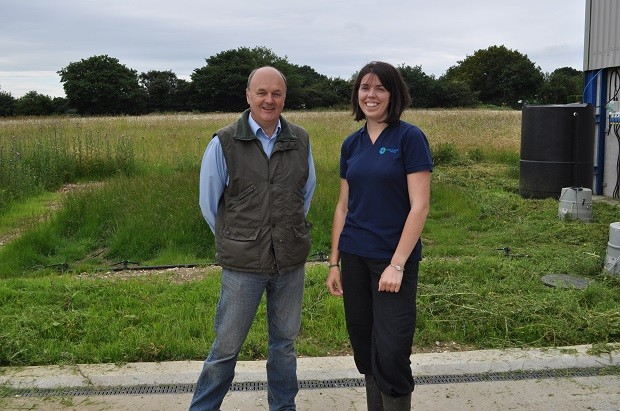 Farmer Robert Stacey with Teresa Meadows (catchment advisor) at a biobed site