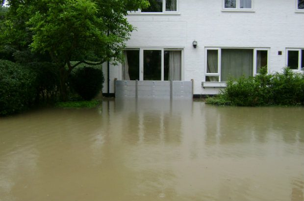 home with flood barrier