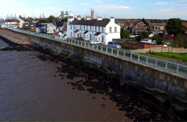 520 metre-long flood barrier in Paull, East Yorkshire