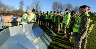 Training the army to deploy temporary flood barriers