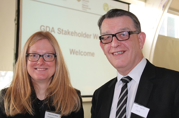 Saffron Price-Walter (EA) and Les Smith from ONR at a stakeholder event