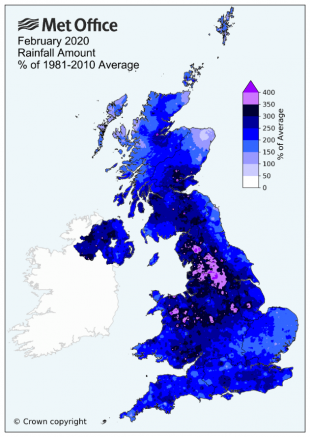 Map of the UK showing rainfall over 200% for most areas