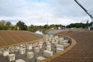 Overlooking River Severn with concrete blocks