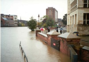 The swollen River Ouse in the city centre during the November 2000 flooding