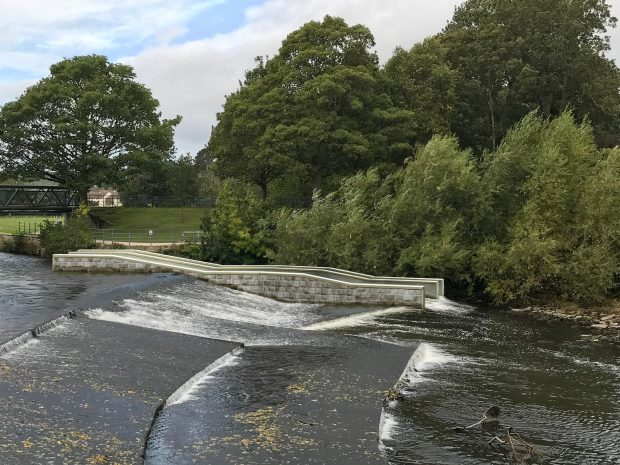 A visualisation of how the fish pass at Saltaire weir will look when completed