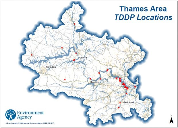 map of locations for temporary barrier deployment along the Thames