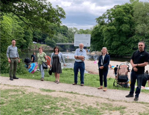 L to R: EA's Yorkshire Area Director Oliver Harmar, Kathleen Roberts, Karen Shackleton & Professor Rick Battarbee from the Ilkley Clean River Group, EA Chair Emma Howard Boyd and EA's Area Environment Manager for North Yorkshire Martin Christmas