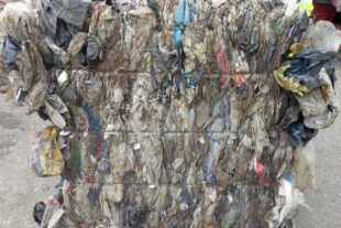 C&D waste plastic film contaminated with soil
