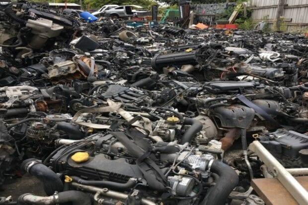 Dismantled car parts