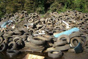 Piles of scrap tyres