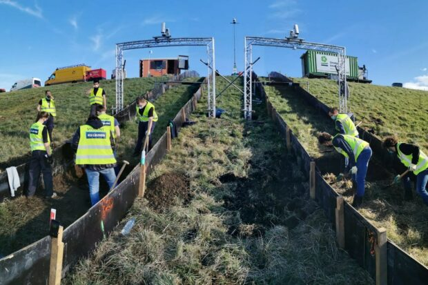 experiments being carried out on flood embankment